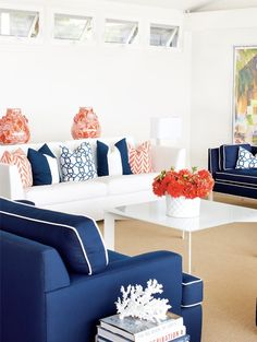 blue, white and coral living room | photography by Stacey Van Berkel-Haines