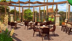 """jenba-sims — SolCaf SolCaf (a shortened form of """"Soul Cafe""""). Cafe Interior Design, Cafe Design, Patio, Backyard, Sims 4 Restaurant, The Sims 4 Lots, Casa Anime, The Sims 4 Packs, Sims 4 House Design"""