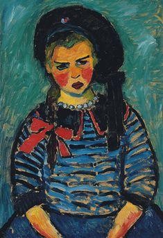 Alexej von Jawlensky - Mädchen mit roter Schleife (Girl with red ribbon) 1911 Art Prints, Expressionist Art, Famous Artists, German Expressionism, Degenerate Art, Painting, Illustration Art, Art, Portrait Art