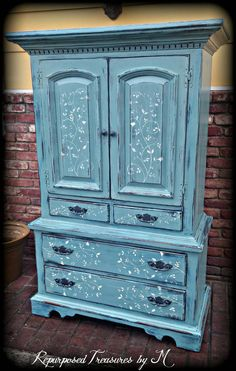 SOLD SOLD Vintage Armoire, Blue Armoire, Childrenu0027s Furniture, Wardrobe  Armoire, Rustic Armoire, Painted Armoire, 7 Drawer Dresser