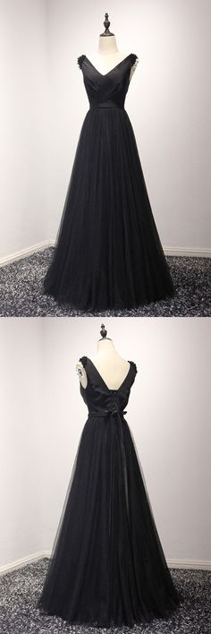 Only $149, Classy Black Long Formal Prom Dress In Tulle V Neck Beading 2018 #AKE18103 at #SheProm. SheProm is an online store with thousands of dresses, range from Prom,Formal,Evening,Black,Long Black Dresses,A Line Dresses,Long Dresses,Customizable Dresses and so on. Not only selling formal dresses, more and more trendy dress styles will be updated daily to our store. With low price and high quality guaranteed, you will definitely like shopping from us.