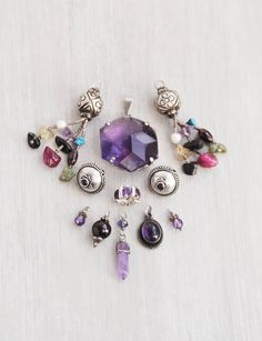 11 Sterling Silver Amethyst pieces - charms pendants beads for jewelry making - salvaged vintage and pre-owned by CuriosityCabinet on Etsy