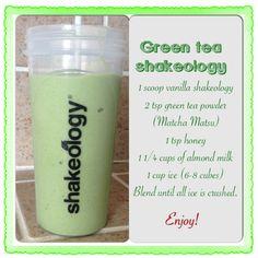 Green tea shakeology. Shakeo & frappuccino in 1 drink :)