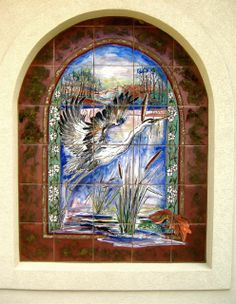 Carolyn Payne murals-Blue Heron panel 4 porcelain hand painted tile/residential home
