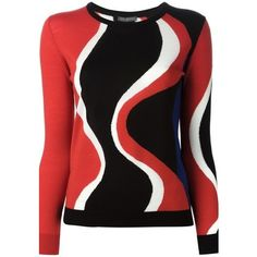 ALEXANDER McQUEEN Wavy Intarsia Sweater featuring polyvore fashion clothing tops sweaters shirts red red shirt red wool sweater black top red black shirt wool long sleeve shirt