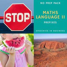 Maths Language II: Prefixes. No Prep Pack.