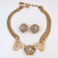 Vintage MIRIAM HASKELL Necklace & Earrings Set Signed Circa 1950's | RS BX #MiriamHaskell