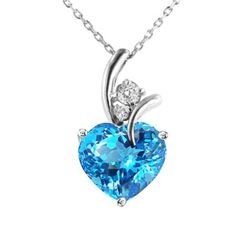 3.00 Carat Blue Topaz & White Sapphire Heart Pendant in Sterling Silver with Chain. Sale: 	$32.95