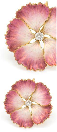 A classic Art Nouveau era enamel flower brooch Krementz & Co., with a diamond center.