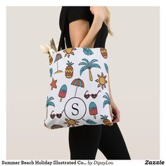 Summer Beach Holiday Illustrated Collage Monogram Tote Bag Monogram Tote Bags, Summer Accessories, Beach Holiday, Edge Design, Summer Beach, Kids Shop, Reusable Tote Bags, Collage, Stylish