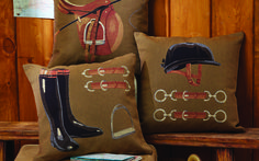 This classic collection can be purchased individually or choose all three for a complete equestrian home decor set.  The pillows are made in the Netherlands, rich woven golden/beige fabric made of 84% cotton, 10% polyamide and 6% polyester with a polyester fiber infill pillow.  A zipper enclosure allows easy removal of the cover.  It is recommended to dry clean only. These are absolutely gorgeous quality with unique English decor style! Size: 18″W x 18″H