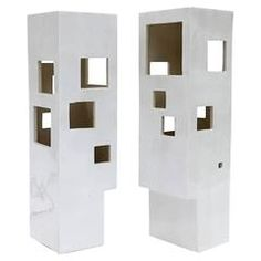 Pair of Geometric Columns Ceramic Lamps