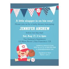 Cute Sports Boy Baseball Baby Shower Invitations