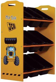 MiPetiteLife.es - Estanteria JCB con recipientes Kidsaw.  Estantería ideal para guardar juguetes y para mantener la habitación ordenada, ya que, ofrece 9 recipientes de almacenaje de plástico.  Los juguetes pueden ser fácilmente ordenados y de forma rápida.  Dimensiones: H.64 x x W.66 D.28cm.  www.MiPetiteLife.es
