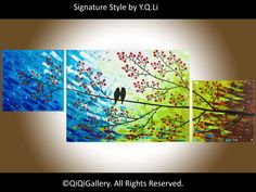 """Original large acrylic painting Heavy Texture Impasto Palette Knife Tree Love Birds Wall Décor """"Looking Up"""""""