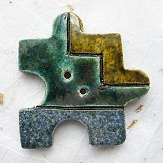 Ceramic button raku button puzzle piece art deco by JanislaJewels, £4.50