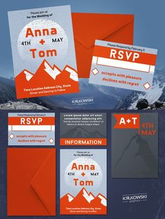 Mountain Wedding Invitation Template. Wedding Fonts. $6.00