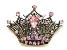 Vintage Inspired Pink Crystal Rhinestone Princess Queen Crown Fashion Pin Brooch $9.99