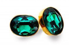Striking Swarovski crystal, green-coloured, in modernistic handmade setting of brass.  www.mysshoes.com