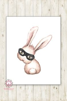 Bunny Rabbit Superhero Monochrome Nursery Wall Art Print Watercolor Mystery Baby Boy Printable Decor