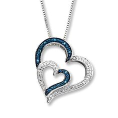 Blue & White Diamonds 1/20 ct tw Necklace Sterling Silver Heart