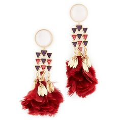 Tory Burch Tropical Creature Feather Chandelier Earrings ($225) ❤ liked on Polyvore featuring jewelry, earrings, feather earrings, gold jewelry, vintage jewelry, gold earrings and tory burch earrings