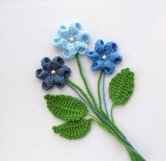 Hand Crochet Appliques Set  Flowers and Leaves Any Colour - Made to Order…