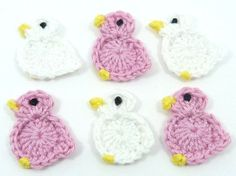 Crochet applique, 6 small crochet birds, cards, scrapbooks, appliques and embellishments