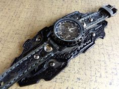Skelett Leather Watch Steampunk Watch Manschette Herren Uhr