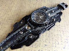 Skeleton Leather Watch Steampunk Watch Cuff by CuckooNestArtStudio