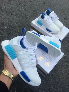 Adidas Women Shoes - Adidas NMD White Blue Glow - We reveal the news in sneakers for spring summer 2017 Sneakers Fashion, Fashion Shoes, Shoes Sneakers, Shoes Heels, Adidas Fashion, High Heels, White Sneakers, Fashion Outfits, Leather Sneakers