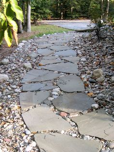 Flagstone And River Rock Stone Paths