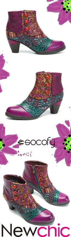 4bb7169129d Socofy SOCOFY Bohemian Splicing Pattern Button Zipper Ankle Leather Boots  is hot-sale. Come to NewChic to buy womens boots online.