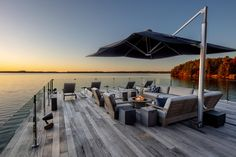 Lake Dock, Boat Dock, Underwater Led Lights, Glass Garage Door, Canada House, Boat Slip, Tiny House Cabin, Backyard, Patio