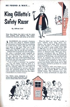 Vintage article on the inventor of Gillette razors. Love the illustration.