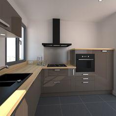 cuisine quip e on pinterest cuisine taupe and plan de travail. Black Bedroom Furniture Sets. Home Design Ideas