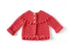 Chaqueta de Crochet Burbujitas para niña [ Tutorial y Patrón GRATIS ] Baby Pullover, Baby Cardigan, Crochet Poncho, Crochet Baby, Baby Sweaters, Couture, Baby Dress, New Baby Products, Crochet Patterns