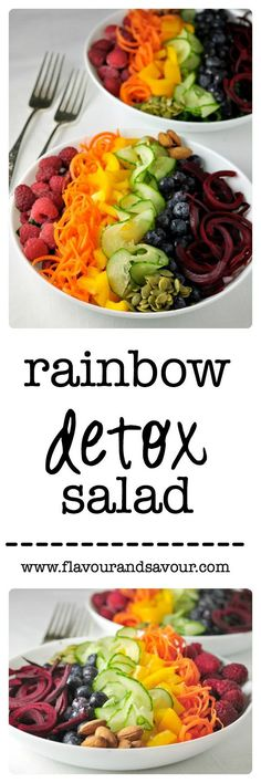 Rainbow Detox Salad from Flavour and Savour. Cleanse your body, eliminate toxins and brighten your skin with this colourful salad.