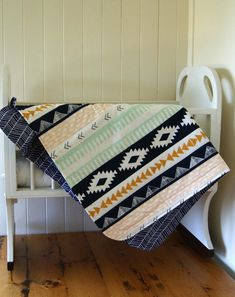 Unisex Baby Blanket Cot Blanket in Aztec and by EmpireEcoDesigns