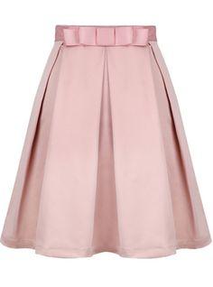 Love, love, love! Pink Bow Pleated Skirt - Sheinside.com