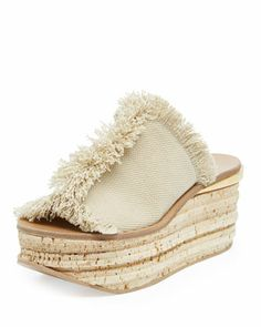 Fringe Canvas Cork Slide Wedge by Chloe at Neiman Marcus.  $675.00 1/16/14