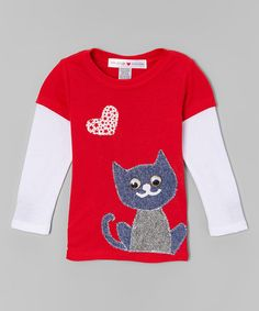 Loving this Red & White Kitty Love Layered Tee - Infant, Toddler & Girls on #zulily! #zulilyfinds