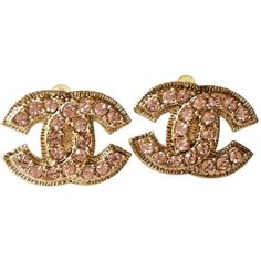 Chanel CC Large Pink & Gold Rhinestone Earrings (595 CAD) ❤ liked on Polyvore