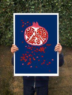 Art poster print  Indigo Pomegranate fruit   20x27  by anek, $85.00