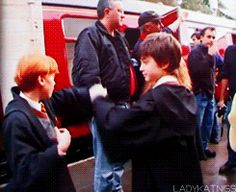 """Tiny Ron and Harry play fighting on set: 