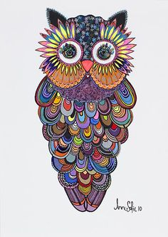 Painted paper owl; these would be so fun to make...kinda like mandalas...We just painted owls but Maybe we'll do them again.