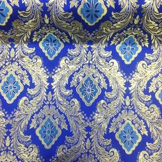 Royal Blue / Gold Floral Brocade Fabric