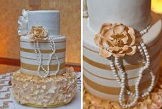 Gold and off-white wedding cake