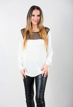 JOYCE - crème mèche noir Bell Sleeves, Bell Sleeve Top, Blouse, Long Sleeve, Tops, Women, Fashion, Black Highlights, Accessories