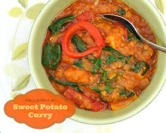 Sweet Potato Curry with Red Lentils, Roasted Peppers & Spinach. Two versions, one for the slow cooker, one for the stovetop. Vegan! Another healthy vegetable recipe from A Veggie Venture.